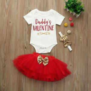 3pcs Newborn Infant Baby Girls Valentine S Day Romper Tops Skirt
