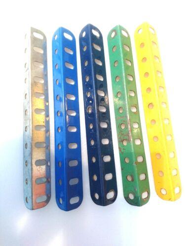 9 Vintage Meccano ángulo vigas Pack de 5; 5 1//2 pulg