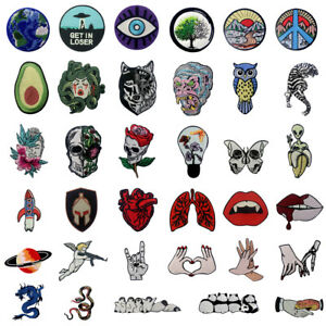 Embroidered-Patches-Iron-Sew-On-transfers-Badge-Applique-Patch-ROCK-Biker-Unique