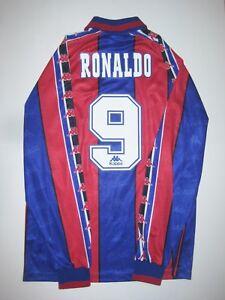 5e4d2333995e31 FC Barcelona Ronaldo #9 Kappa Long Sleeve Kit Jersey Shirt 1996 1997 ...