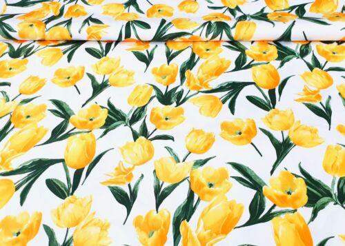 Baumwollsatin Stoff elastisch Tulpen für Bekleidung Gardine Deko Baumwolle