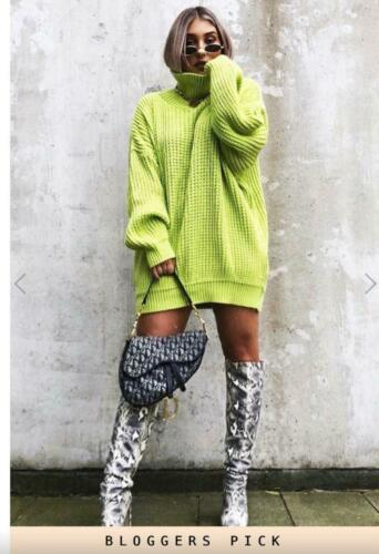 Womens Ladies Fluorescent Chunky Knitted High Neck Jumper Dress Sweater Long Top