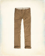 NWT Hollister Men's Slim Straight Chino Khaki Button Fly pants 36 x 32 New