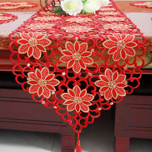 Red-Embroidered-Floral-Lace-Table-Runner-Wedding-Party-Dining-Living-Room-Decor