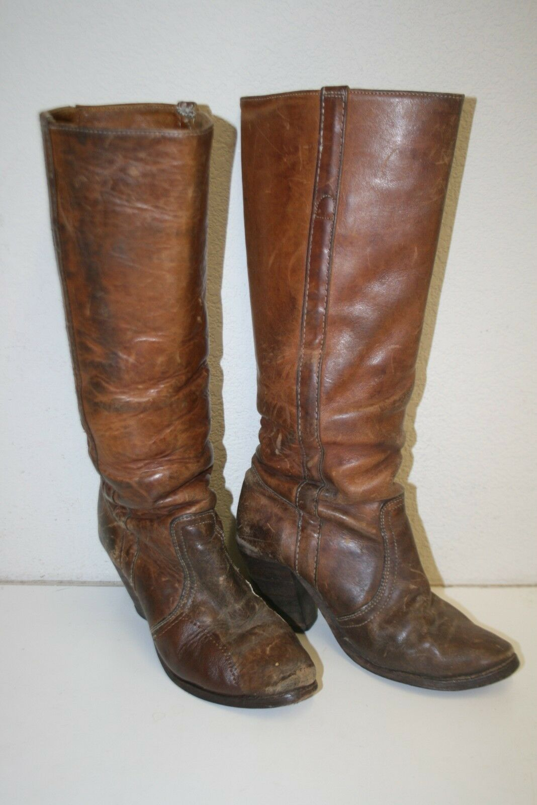 Vintage Leather Women's FRYE Size 7.5 Ranch Horse Riding Equestrian Cowboy Boots