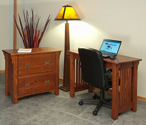 Beau Details About Home Office Lateral Filing Cabinet Solid Oak Mission Style  #136