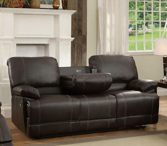 Remarkable New Home Theater Movie Tv Double Reclining Sofa Loveseat W Console Faux Leather Gmtry Best Dining Table And Chair Ideas Images Gmtryco