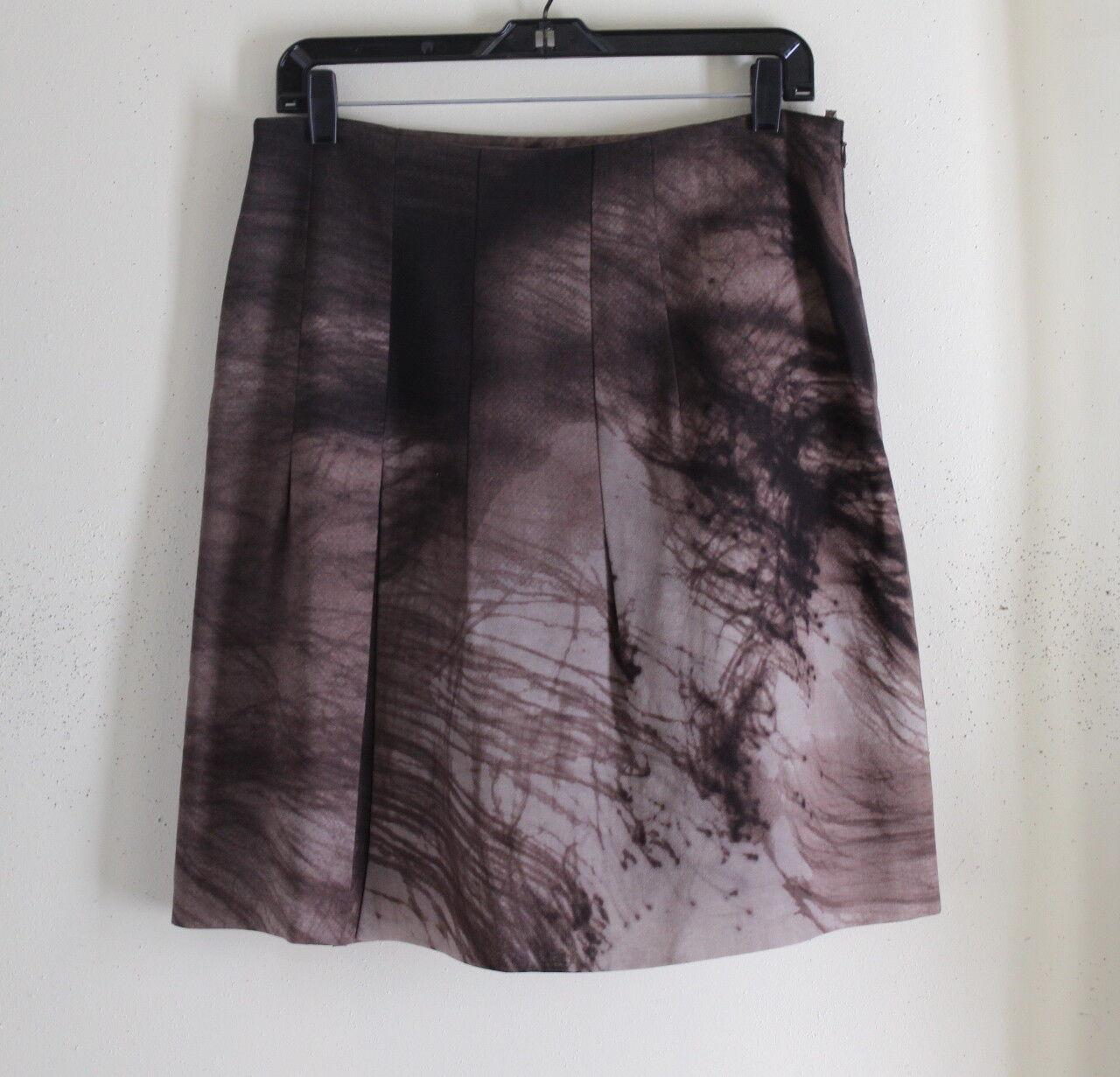 AKRIS Punto -Sz 8 38 Elegant Rich Abstract Expressionist Brown Fine Wool Skirt