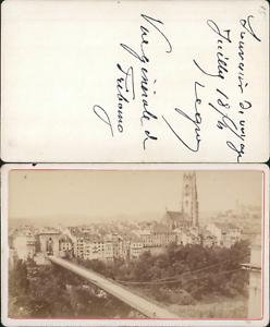 100% De Qualité Suisse, Vue De Fribourg Vintage Cdv Albumen Carte De Visite Cdv, Tirage Albu Prix De Rue