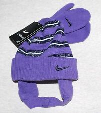 Toddler 2T-4T Girls Nike Knit Hat Cap Beanie Mittens Set Iris Purple 2A2454