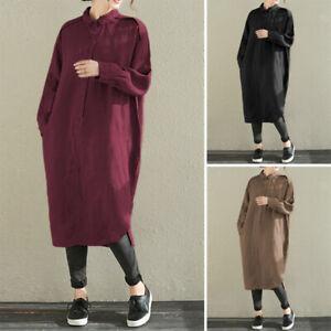 Mode-Femme-Robe-Chemise-100-coton-Revers-Boutons-Manche-Longue-Dresse-Plus