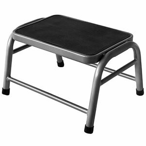 One Step Stool Silver Metal Anti Slip Rubber Mat Kitchen