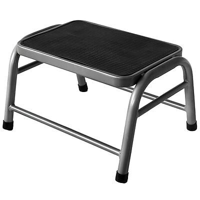 One Step Stool Silver Metal Anti Slip Rubber Mat Kitchen Ladder By Home Discount