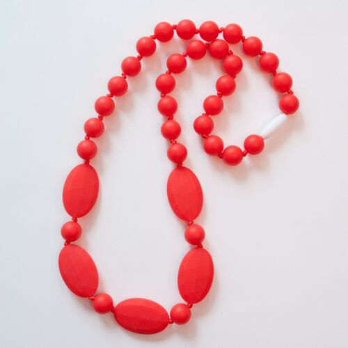 Red Oval/&Round Silicone Teething Breastfeeding Necklace Chewable Beads 3203