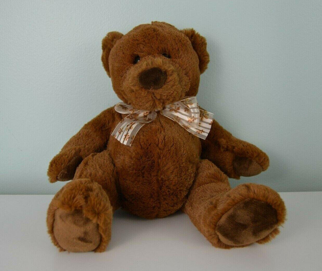 Walmart Stores Teddy Bear Plush Stuffed Animal Toy Brown Floral Stripe Bow 9