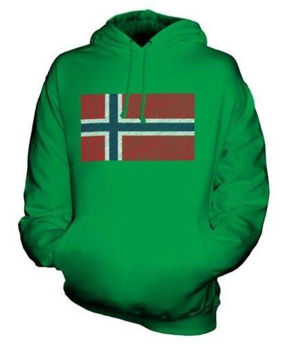 NORWAY SCRIBBLE FLAG UNISEX HOODIE TOP GIFT NOREG NORGE
