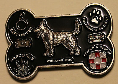 K9 Handler / Team BAD TO THE BONE Army Navy Marine Air Force Challenge Coin