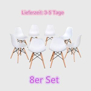 8-Stueck-Weiss-stuhl-Wohnzimmer-stuhl-Esszimmerstuhl-Kunststoff-Stuehle-Chairs-Set