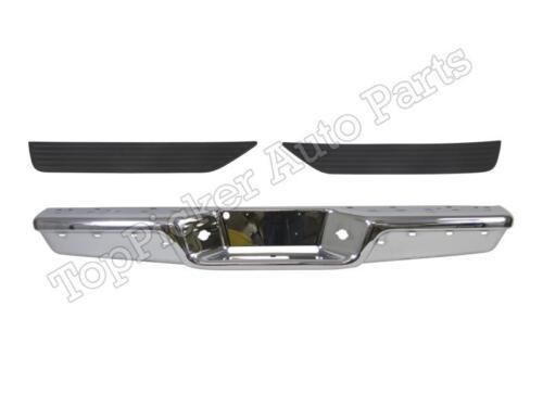 New Rear Step Bumper Chrome Face Bar /& Top Pad Set for 1997-2004 Dodge Dakota
