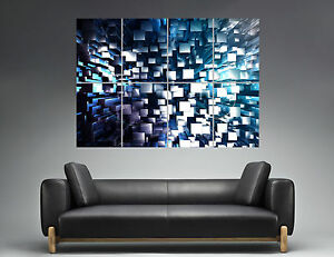 Cubes-Abstract-Abstrait-Design-Wall-Art-Poster-Grand-format-A0-Large-Print