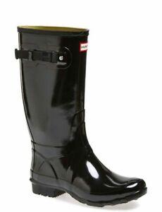 LADIES-HUNTRESS-HUNTER-BLACK-GLOSS-WELLIES-WELLINGTON-RAIN-WALKING-BOOTS-UK-3-8