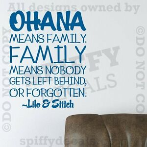 Image is loading OHANA-MEANS-FAMILY-LILO-AND-STITCH-DISNEY-Quote-  sc 1 st  eBay & OHANA MEANS FAMILY LILO AND STITCH DISNEY Quote Vinyl Wall Decal ...