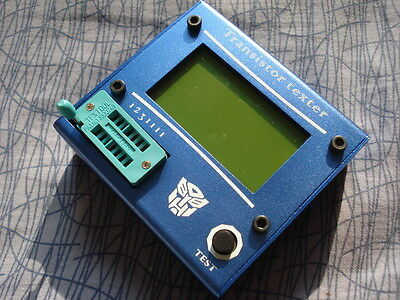 2017 Transistor Tester Diode Triode Capacitance ESR Meter +  Aluminum Case Blue