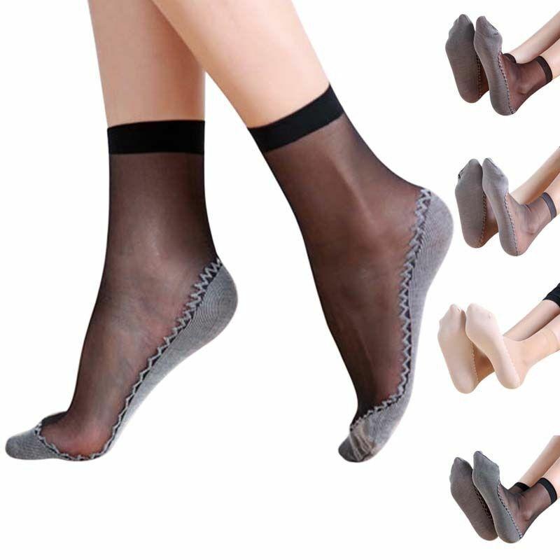 Frauen Socken Transparent Sommer Füßlinge Lang Feinsöckchen Feinstrümpfe Schwarz
