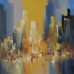 Wilfred Lang original big painting New York cityscape wall art new home decor