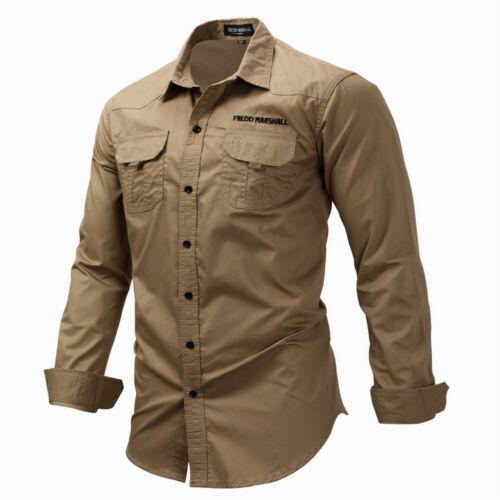Mens Shirts Militaire Cargo Armée Tactique Manches Longues Poche Chemise de travail Slim