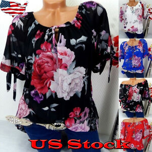 Womens-T-Shirt-Crew-Neck-Short-Sleeve-Blouse-Floral-Print-Loose-Summer-Tops-NEW