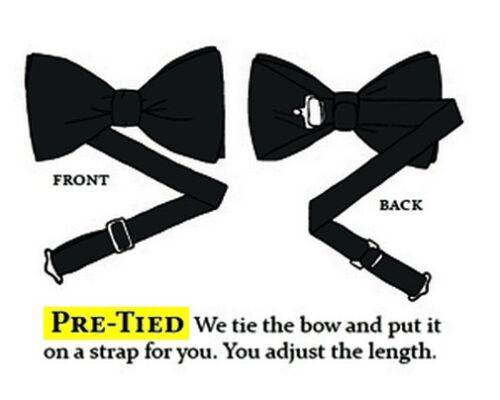 TUXEDO BOW TIE Wedding Party Prom Pre-Tied Mens Adjustable Plain Solid Black