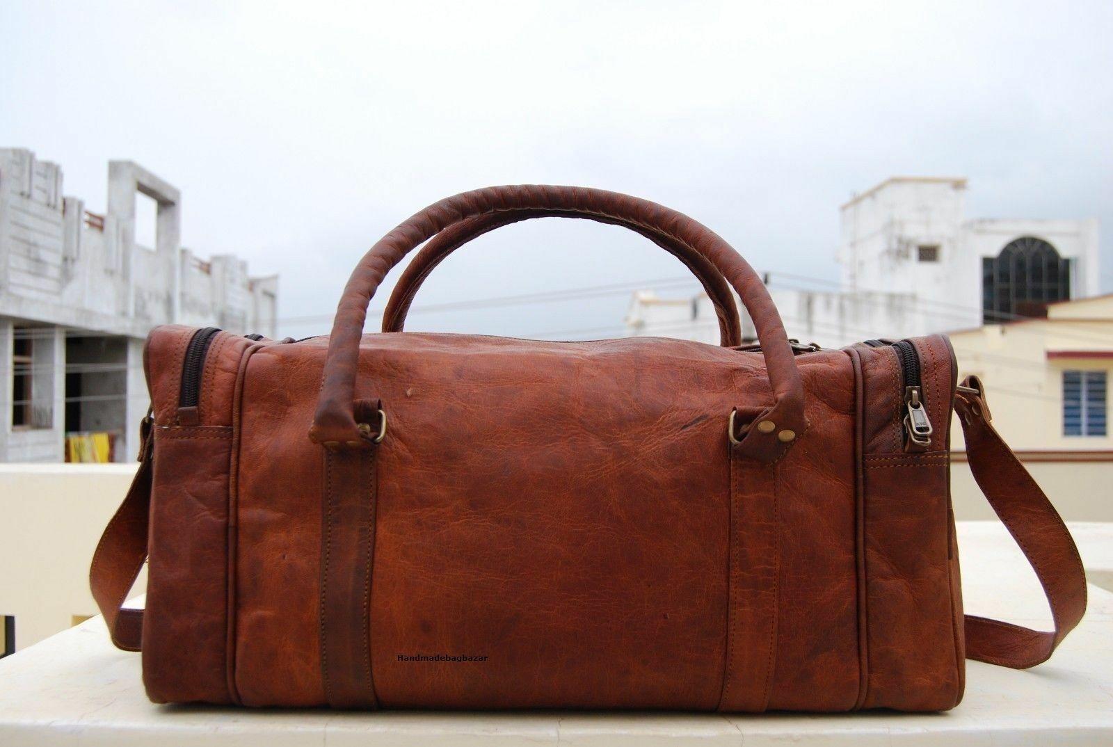 Men/'s Large Top-Quality Vinatge Brown Leather Travel Luggage Duffel Weekend Bag