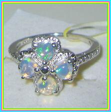Genuine Ethiopian Welo Opal Ring Platinum overlay Sterling Silver 925 sz 7