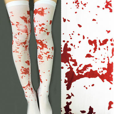 Blood Stain Splattered Stockings Halloween Nurse Zombie Ladies Fancy Dress Socks