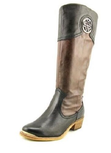 Baretraps Paramount knee high boots tall black with brown sz 6 WIDE New