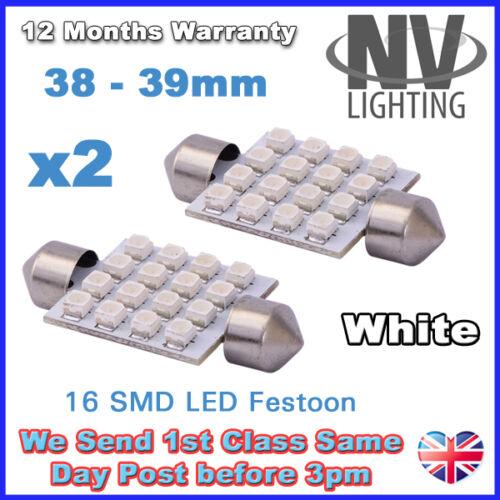 2 X 38MM 39MM Plaque d/'immatriculation lumière intérieure Feston Ampoule 16 SMD LED Xenon Blanc