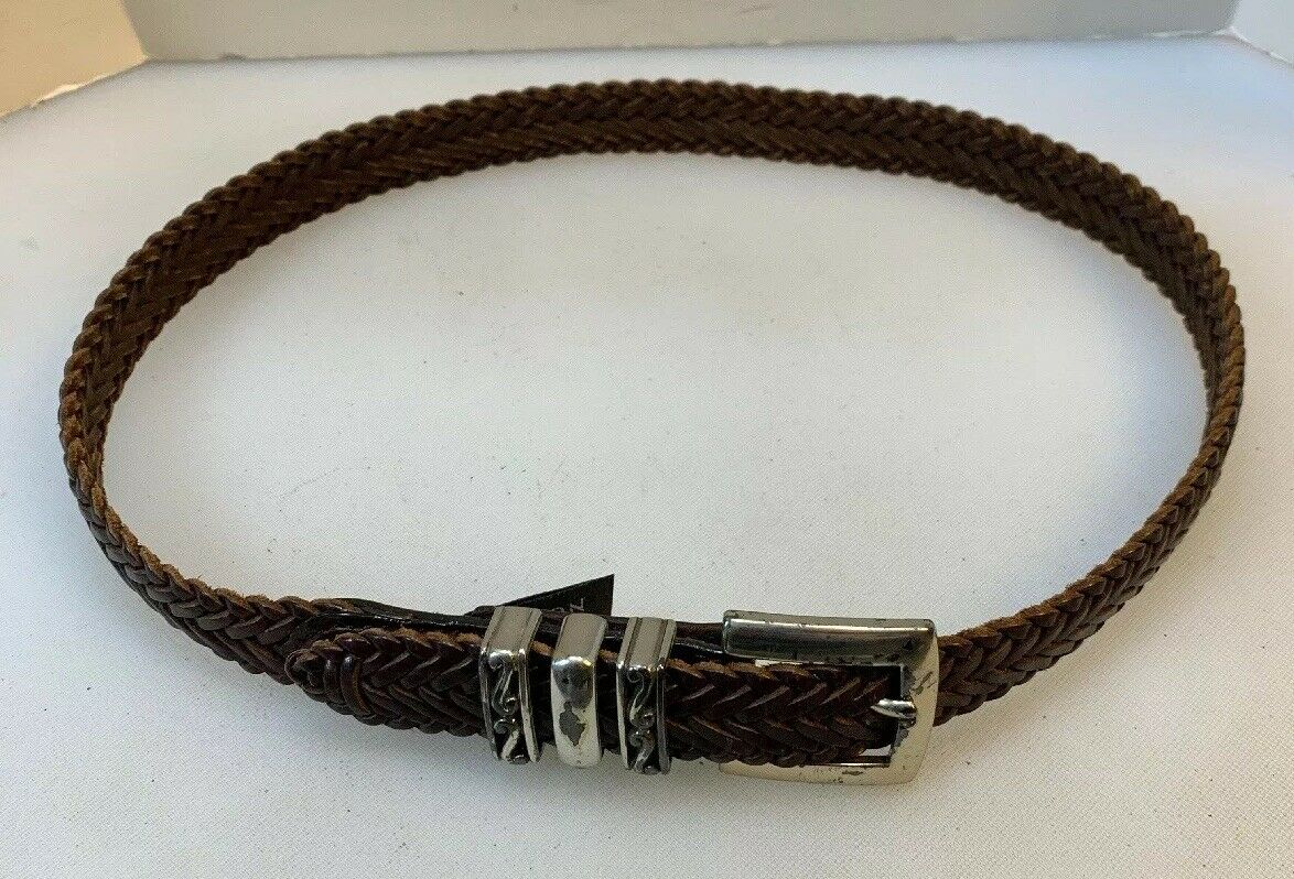 Brighton Women Medium M Belt Brown Woven Braided Leather Western BoHo 97026