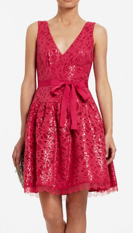 348 BCBG AZALEA  (KATARINA) SLEEVELESS SEQUIN LACE DRESS NWT 6