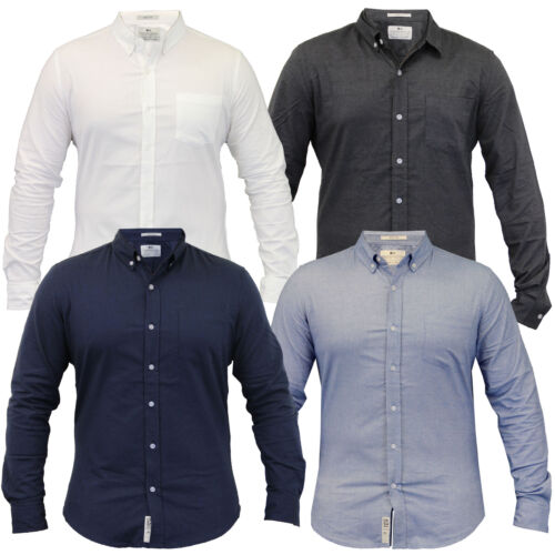Mens Cotton Oxford Shirts Crosshatch Collared Long Sleeved Casual Formal Work