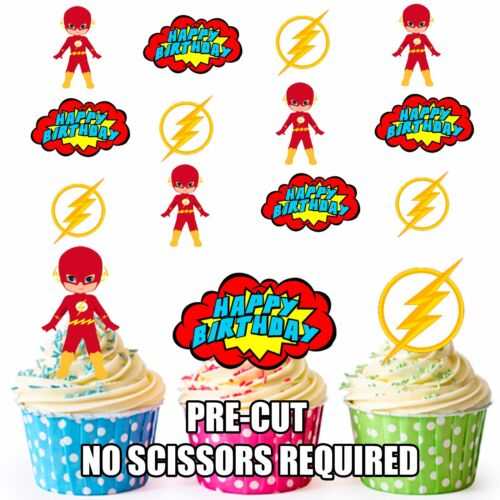 PRE-CUT Superhero Flash Happy Birthday Edible Cupcake Toppers Party Decorations