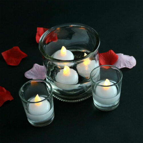 4//12Pcs Water Candles Floating Small LED Candles Light for Wedding Bath Party