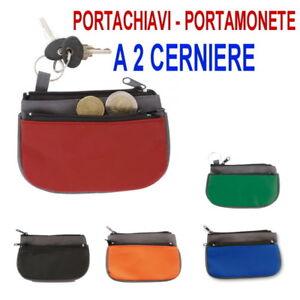 PORTAMONETE-PORTA-SPICCIOLI-PORTAFOGLIO-2CERNIERE-ZIP-PVC-ROSSO-NERO-GRIGIO-BLU