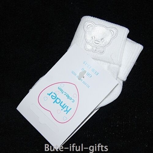 Kinder Baby Boy/'s White Short Ankle Socks With Motif Sizes 0-0 0-2 3-5