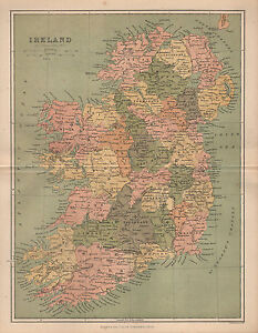 1874 Carte ~irlande ~ Liège Munster Clare Mayo Connaught Meath Tyrone Ulster Ohixfbyb-07235030-492908914