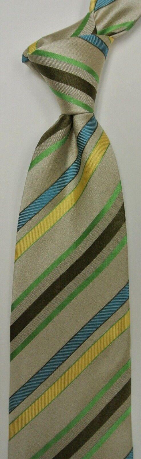 BEIGE Striped Self Tipped Silk Tie