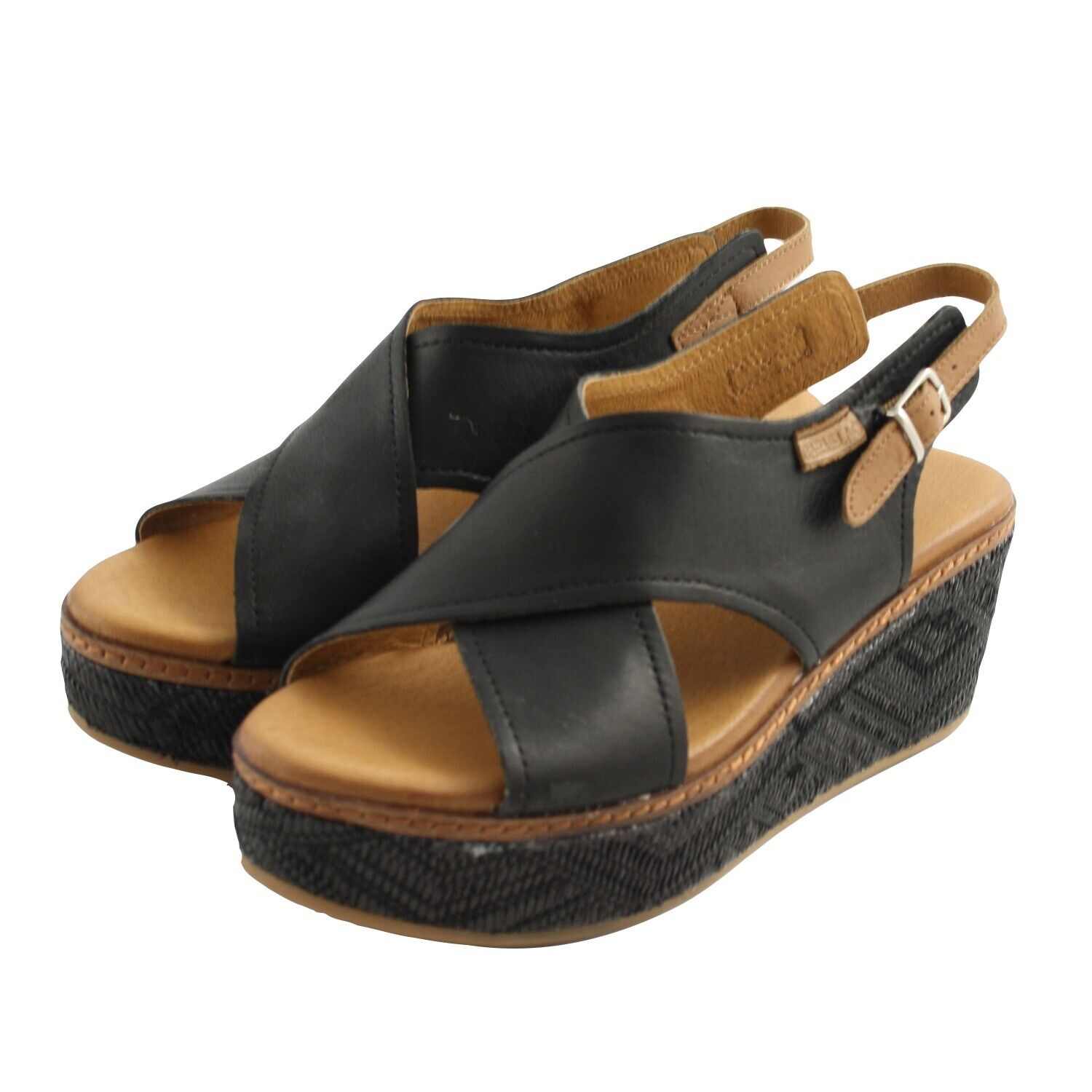 Summer sandals shoes CARMELA womens leather black and brown leather comfortable wedge