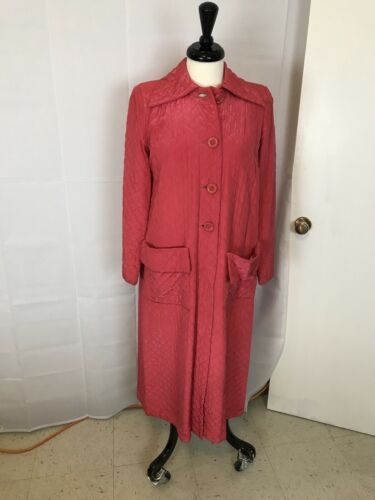 Dressing Robe 1930s 1940s Textron Long  quilted s