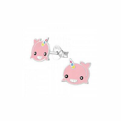 """Umoristico Bambini Ragazze Gioielli Whalecorn 'orecchini A Perno Unicorno """"sterling Silver-mostra Il Titolo Originale Prezzo Di Vendita"""