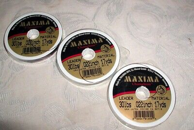 3 SPOOLS MAXIMA Leader//Tippet MATERIAL CHAMELEON; FLY ROD LINE;17yd 30lb..022